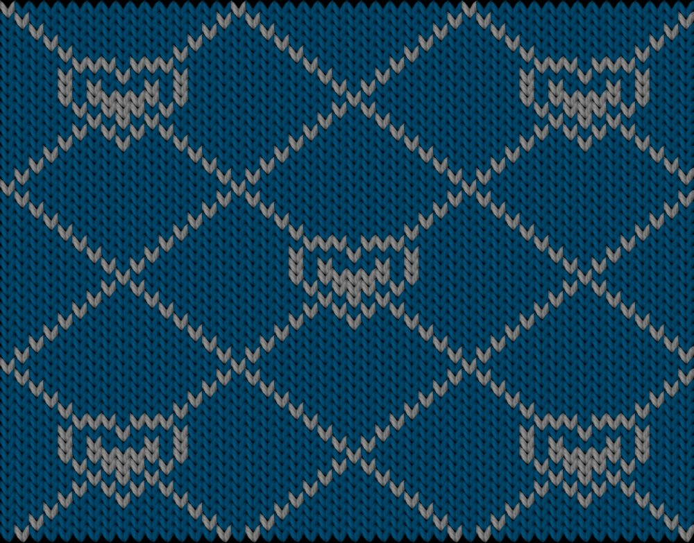 Knitting motif chart, blue heart