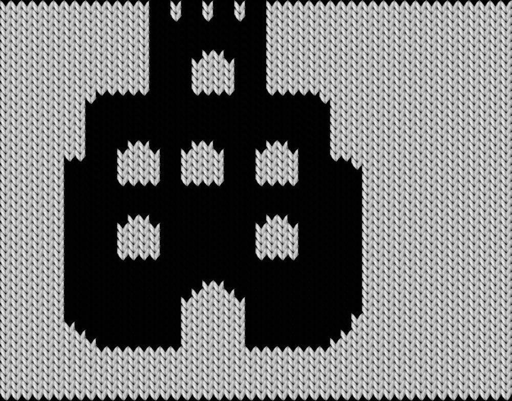Knitting motif chart, Hallowen castle