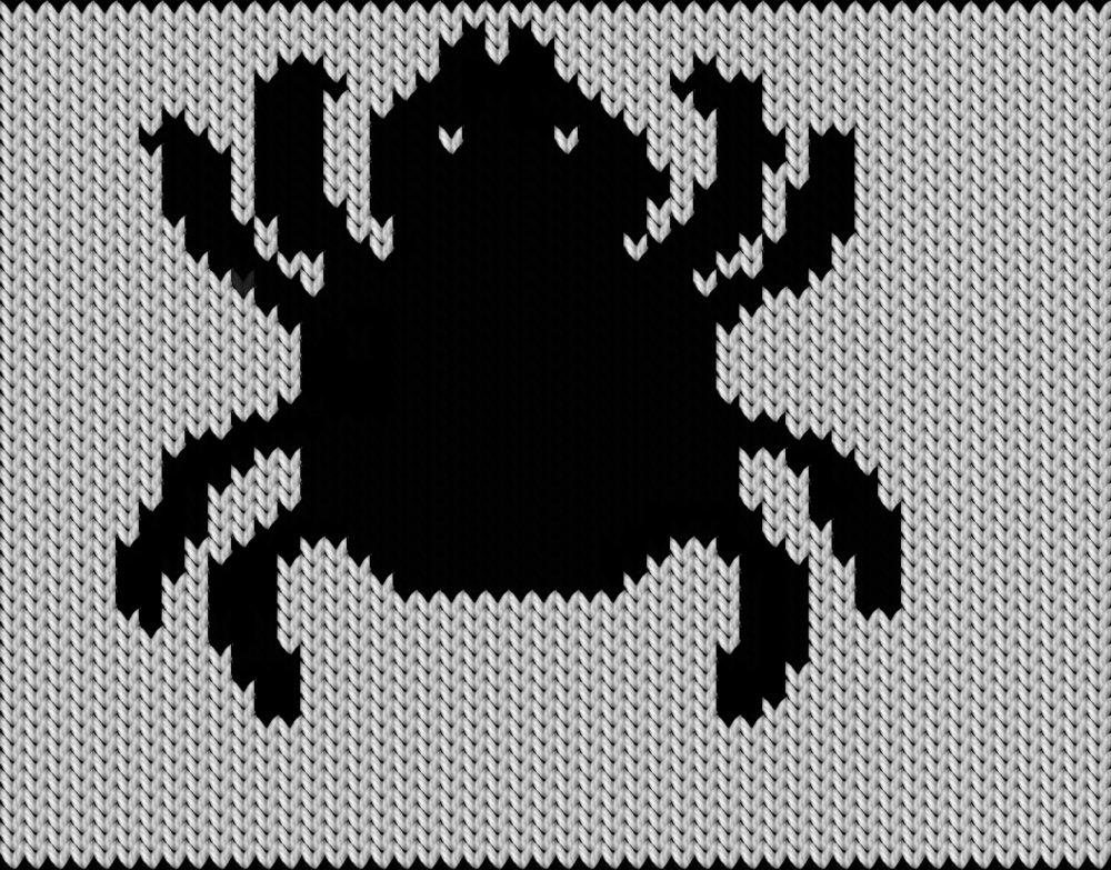 Knitting motif chart, Halloween spider