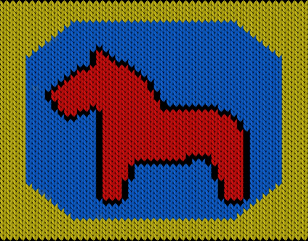 Knitting motif chart, Swedish Dala horse