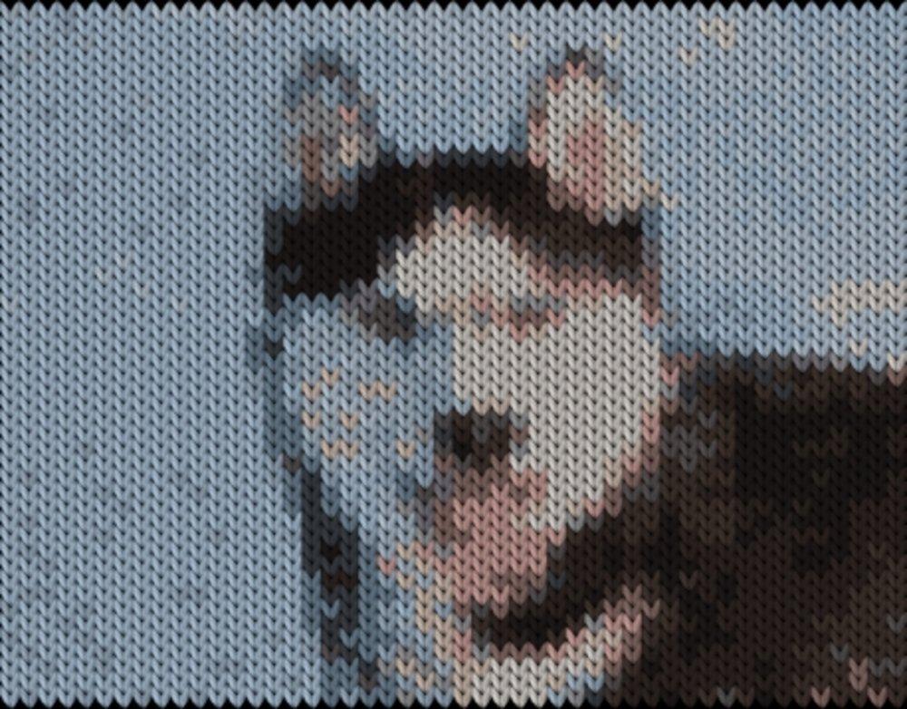Knitting motif chart, husky