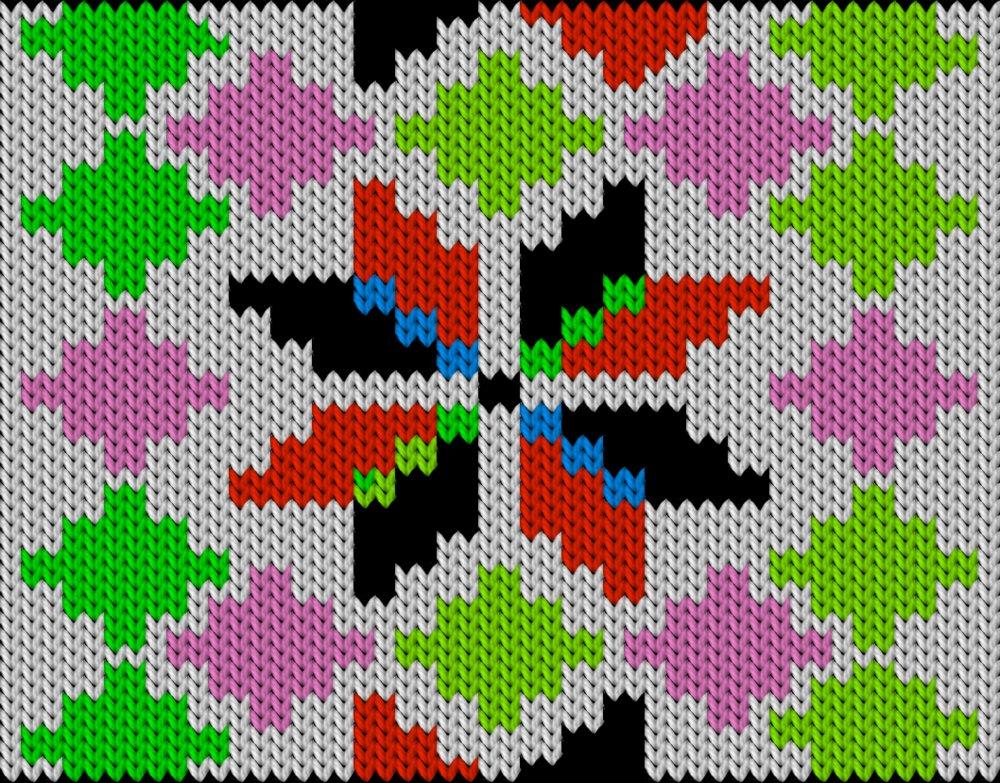 Knitting motif chart, Eight-petal rose