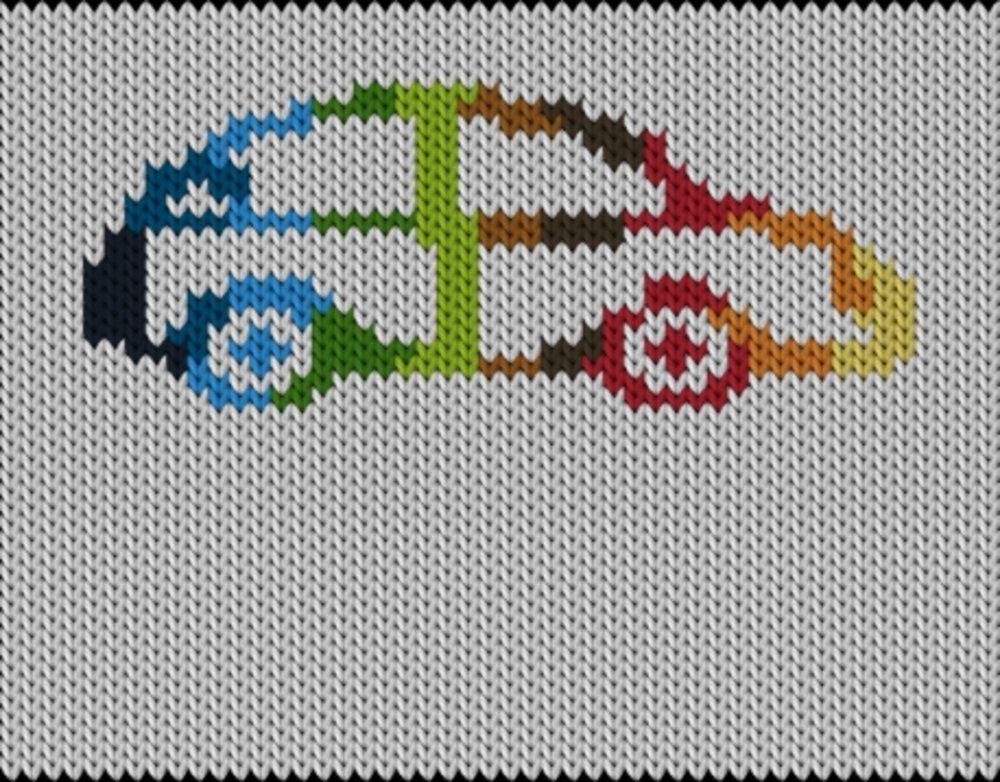Knitting motif chart, Raibow car