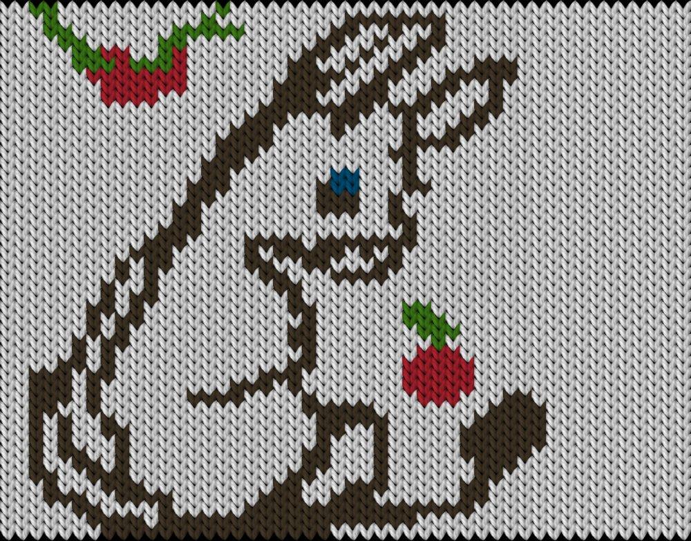 Knitting motif chart, Donkey