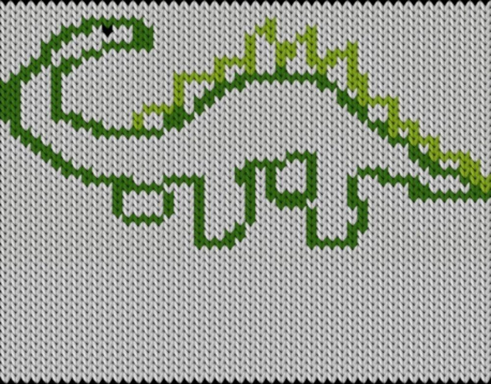 Knitting motif chart, Dino1