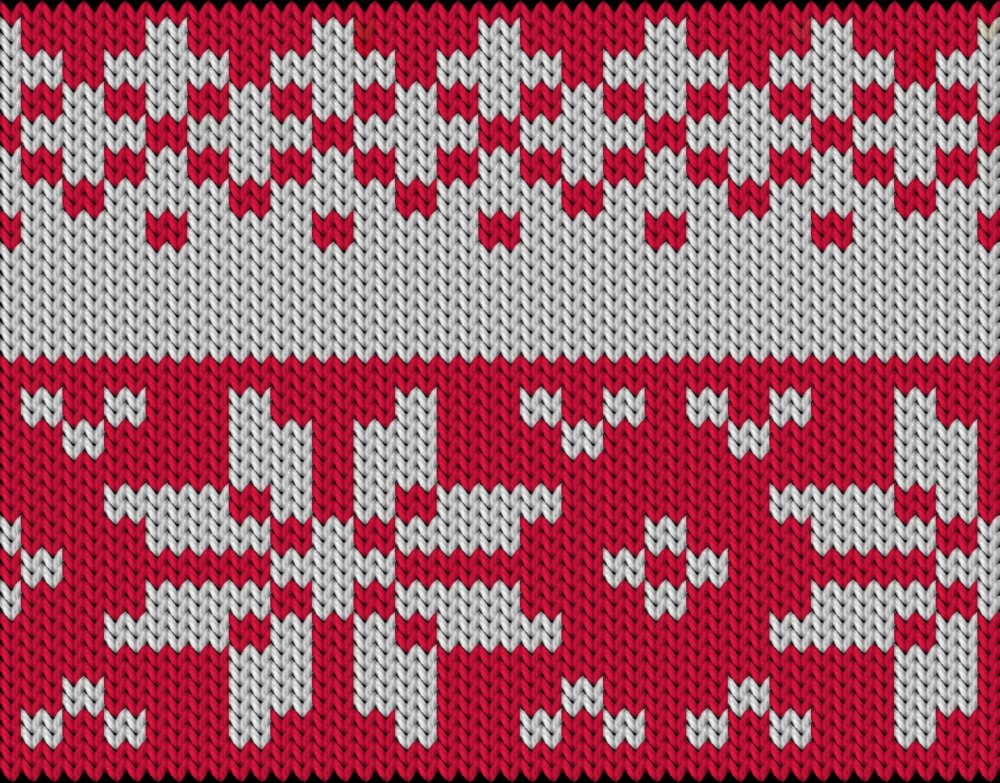 Knitting motif chart, Stars small and large