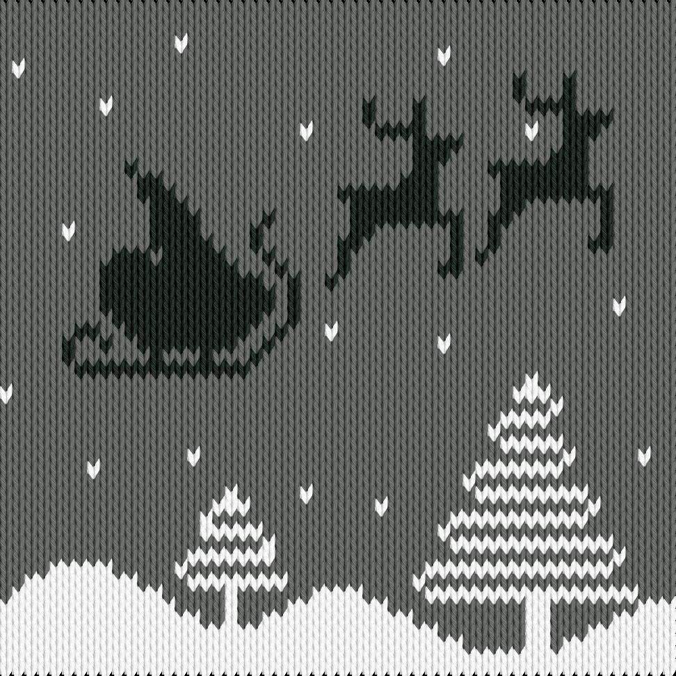 Knitting motif chart, Christmas