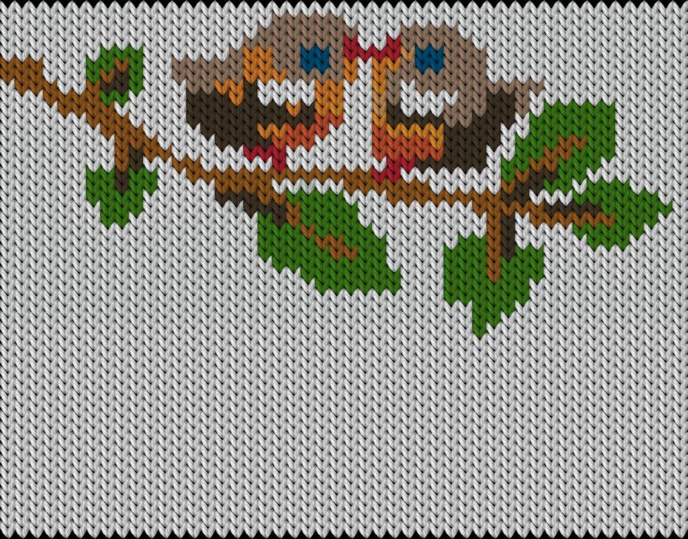 Knitting motif chart, Bird love