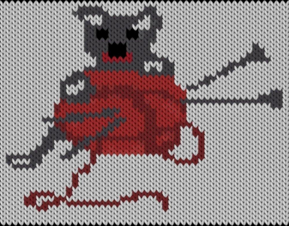 Knitting motif chart, Cat - Knitted