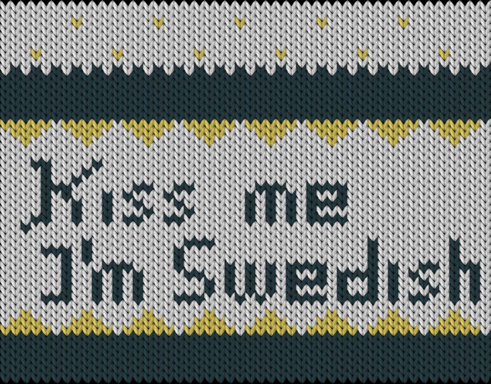 Knitting motif chart, Kiss me I'm Swedish