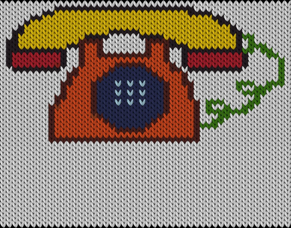 Knitting motif chart, Phone