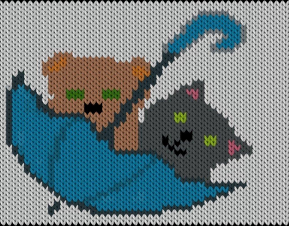 Knitting motif chart, Umbrella-cats