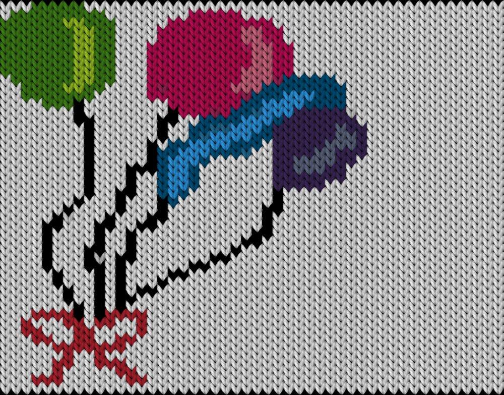 Knitting motif chart, Balloons