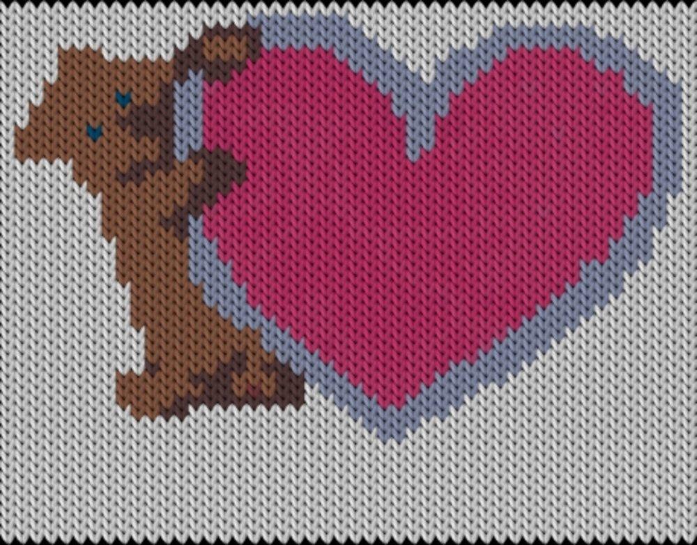 Knitting motif chart, Bear-heart