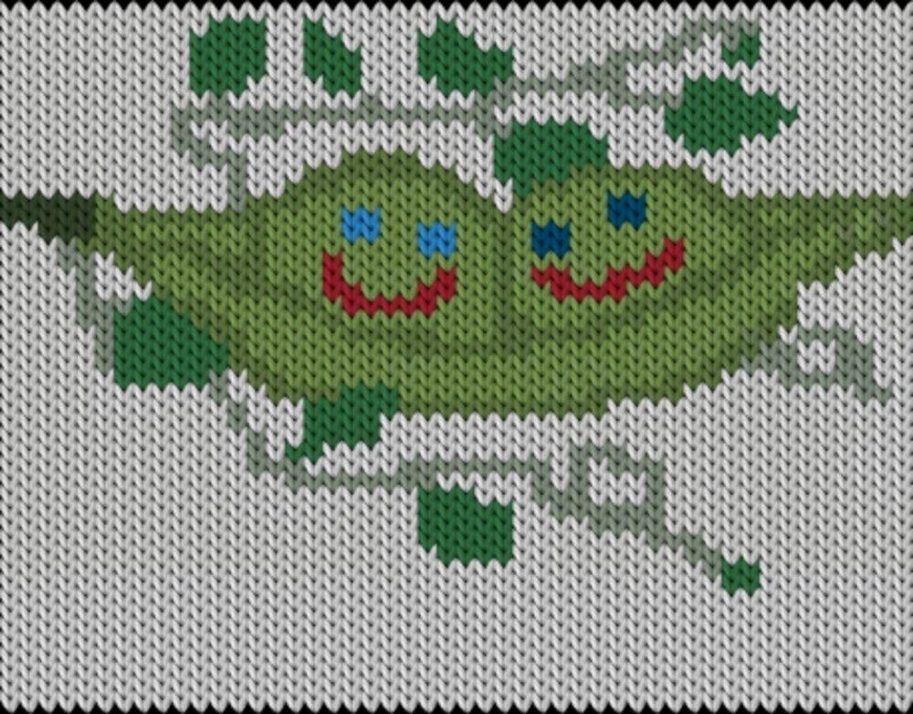 Knitting motif chart, Peas