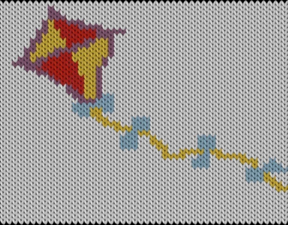 Knitting motif chart, Kite