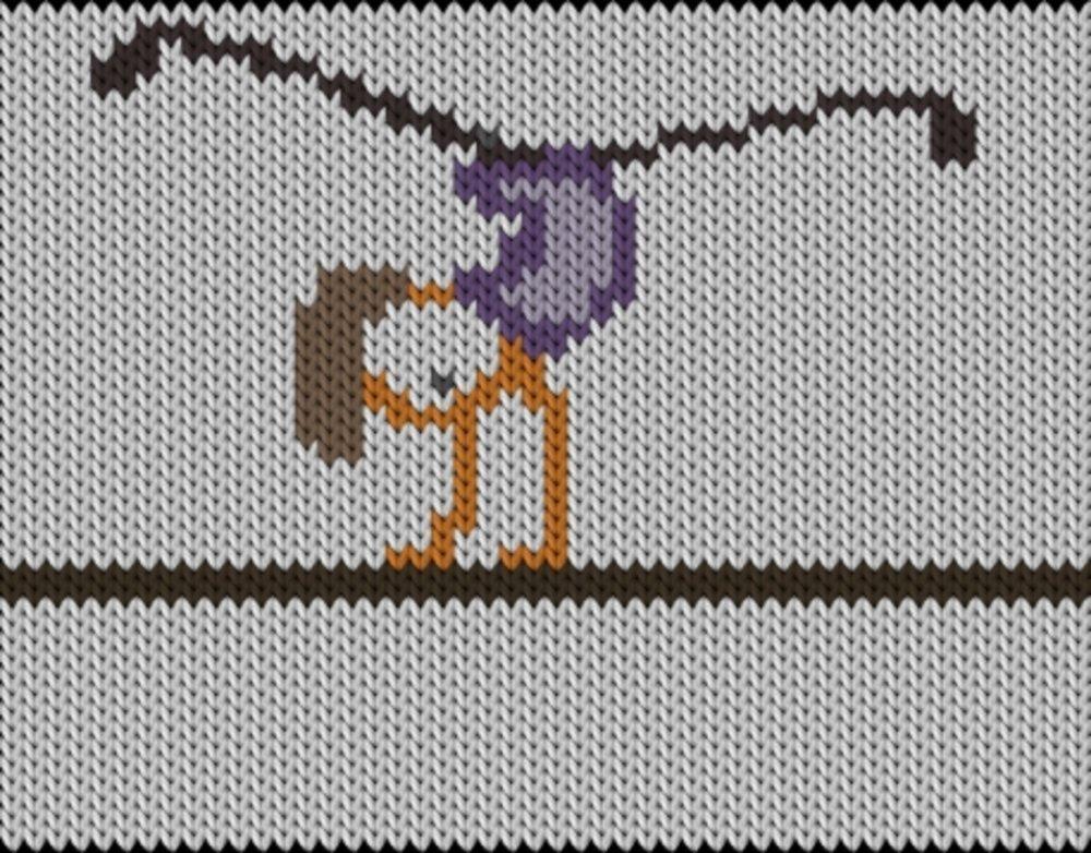 Knitting motif chart, Gym