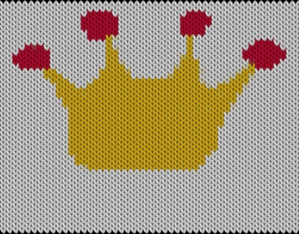 Knitting motif chart, Korona