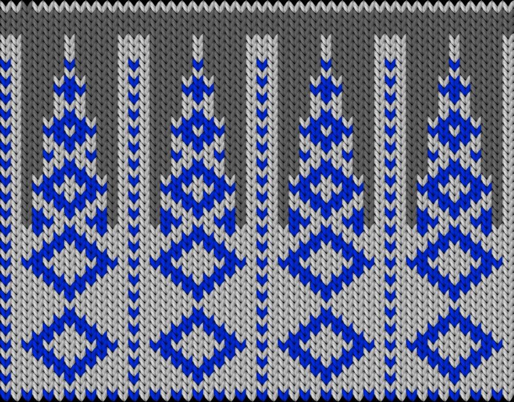 Knitting motif chart, rombuses