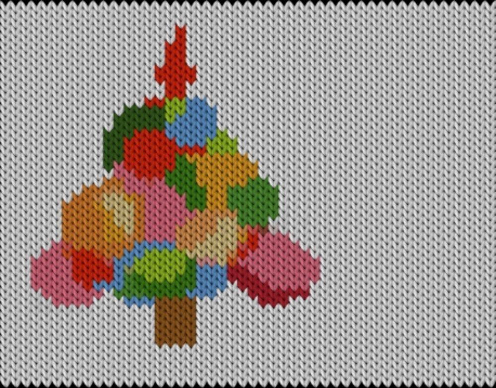 Knitting motif chart, Christmas tree-rainbow