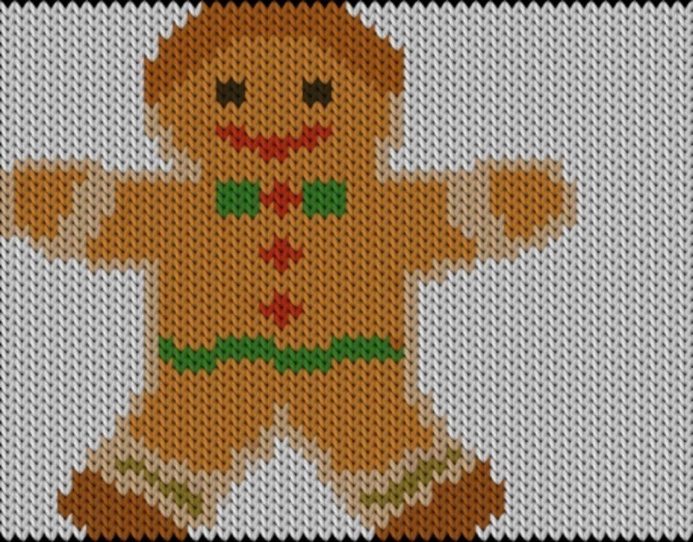 Knitting motif chart, Christmas cake