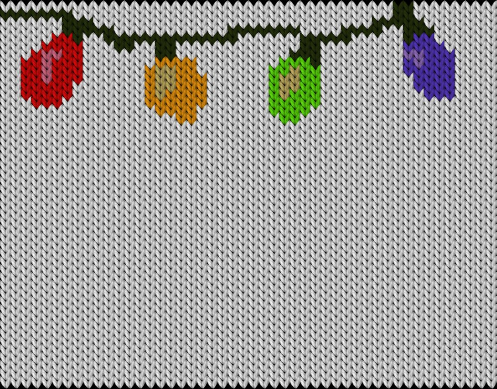 Knitting motif chart, Christmas light