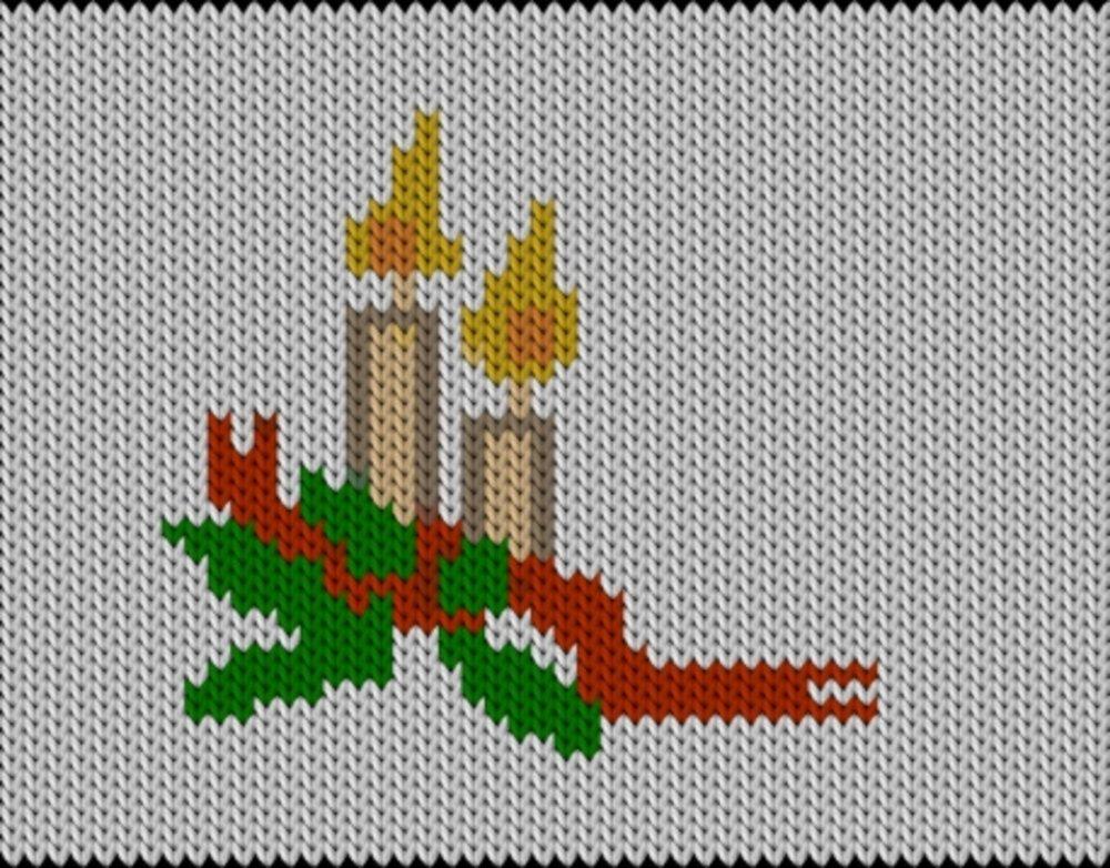 Knitting motif chart, Christmas candle