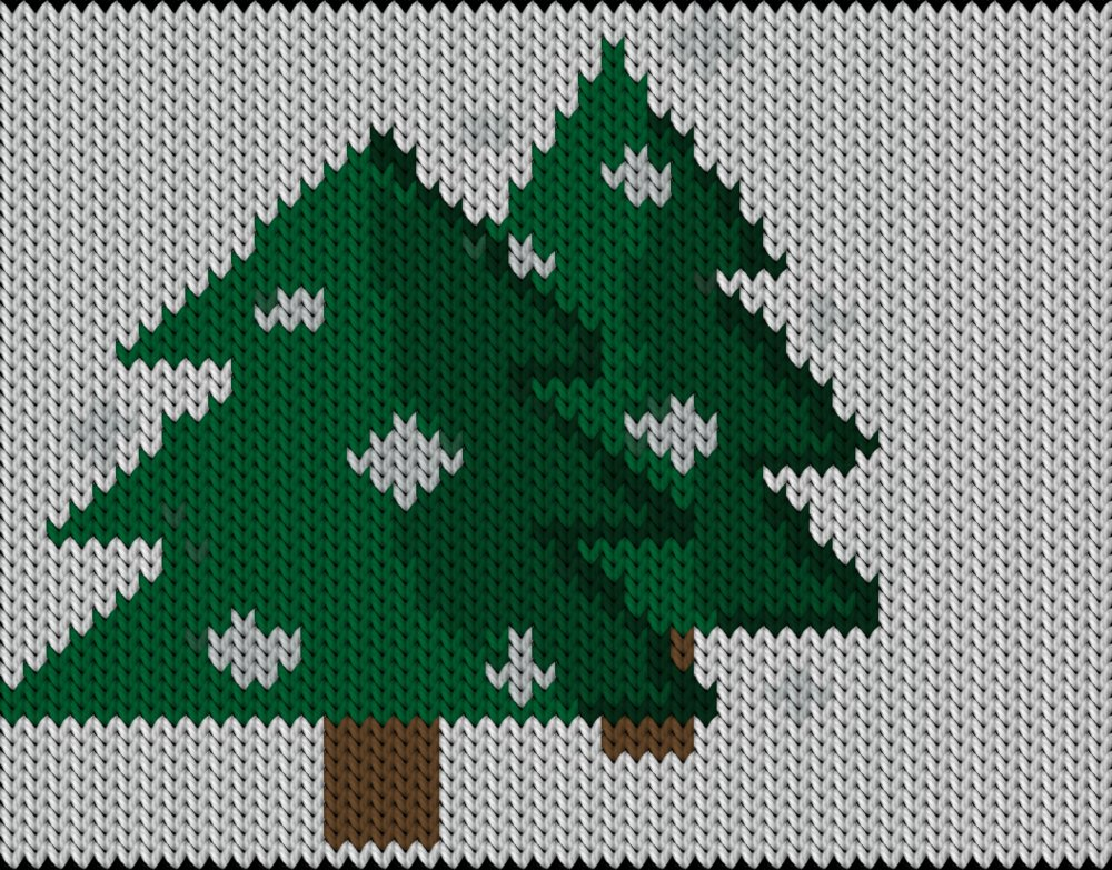 Knitting motif chart, Pines