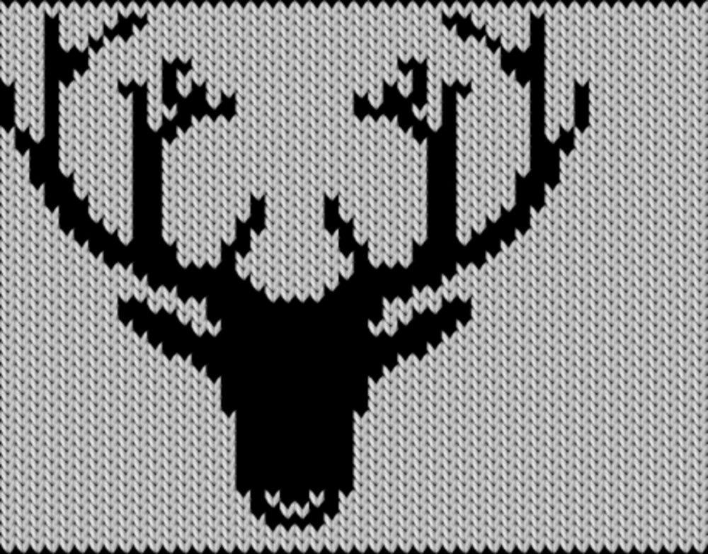 Knitting motif chart, Deer smiling
