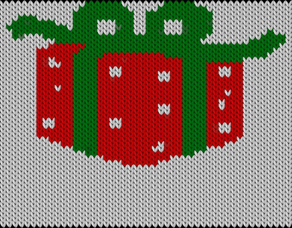 Knitting motif chart, Christmas gift-1