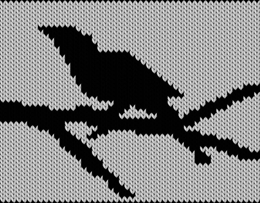 Knitting motif chart, Bird silhouette