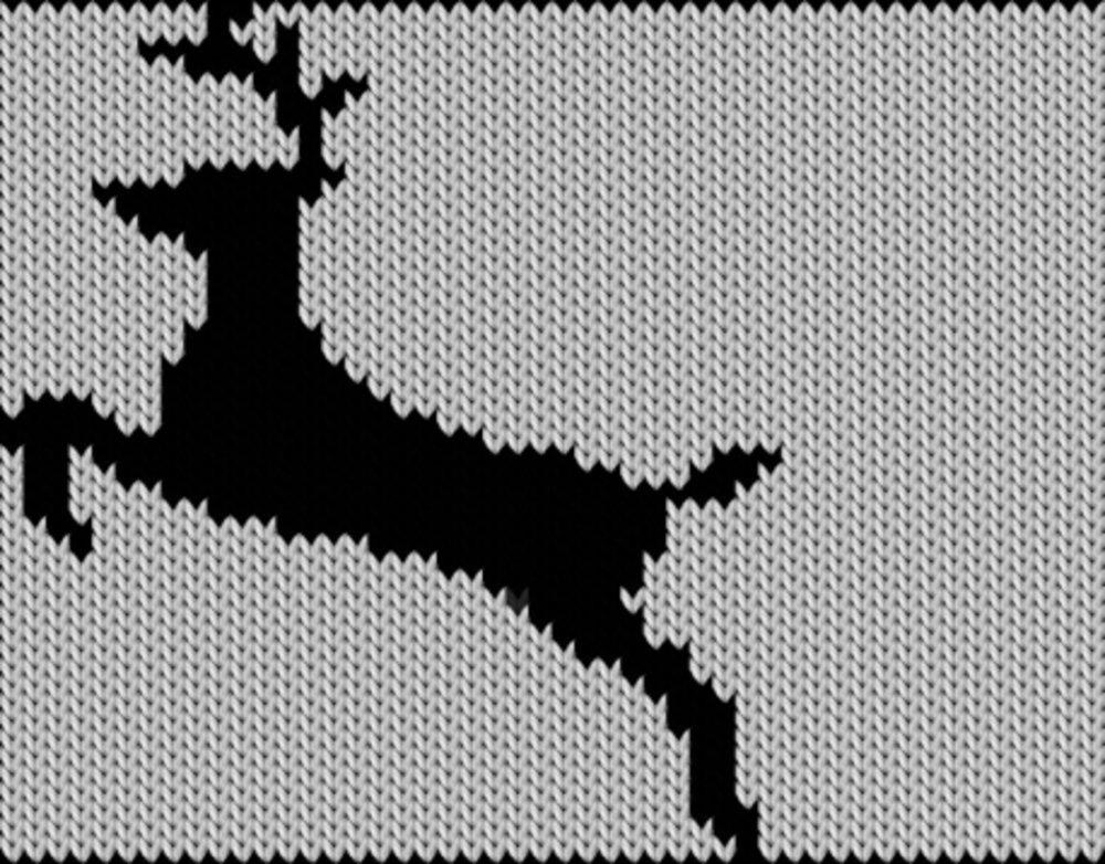 Knitting motif chart, Deer-silhouette