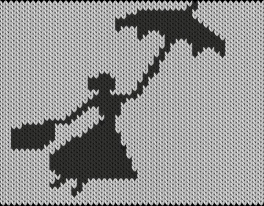 Knitting motif chart, Flying in rain