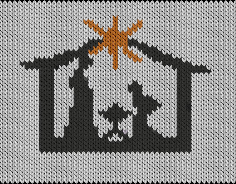 Knitting motif chart, Jesus is born