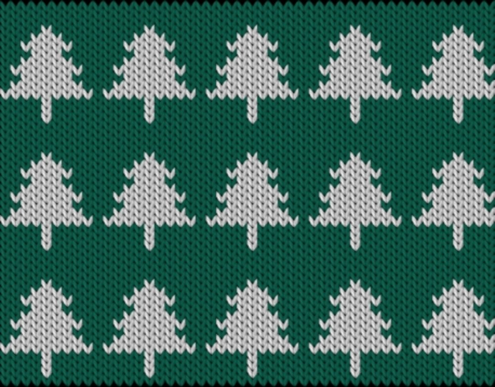Knitting motif chart, Christmas trees