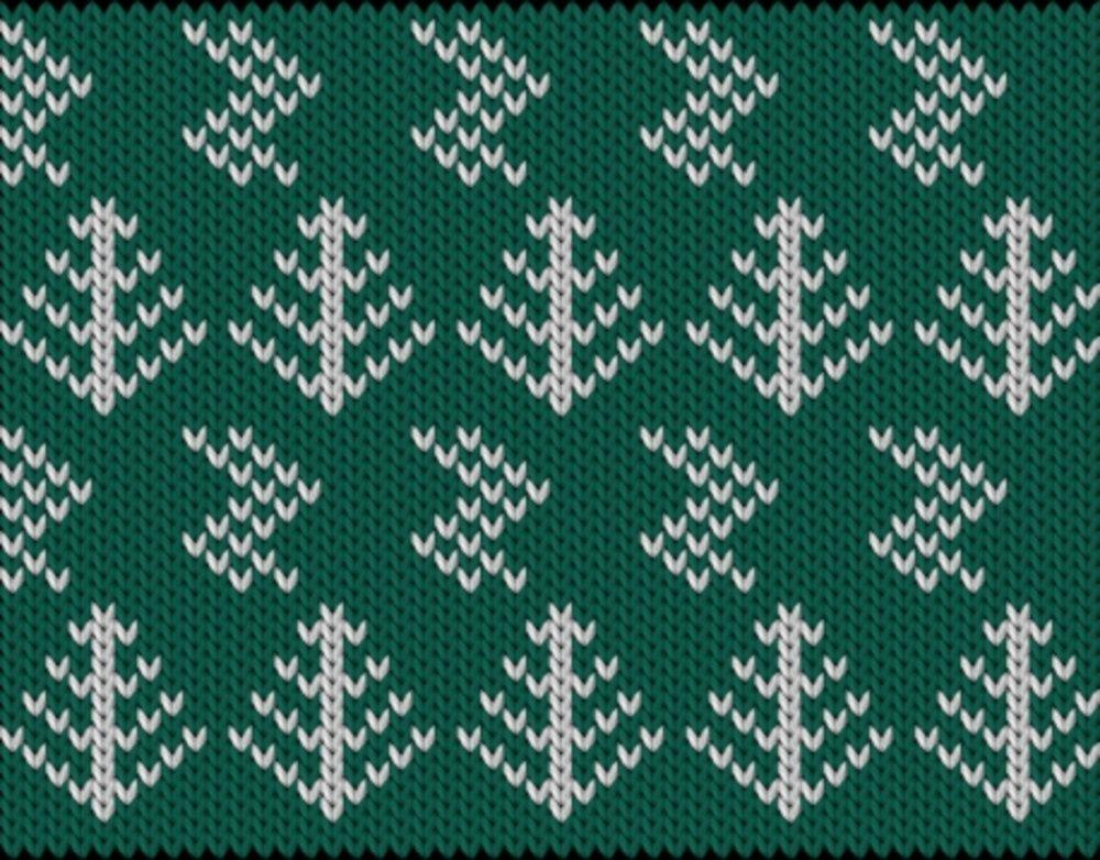 Knitting motif chart, Christmas trees