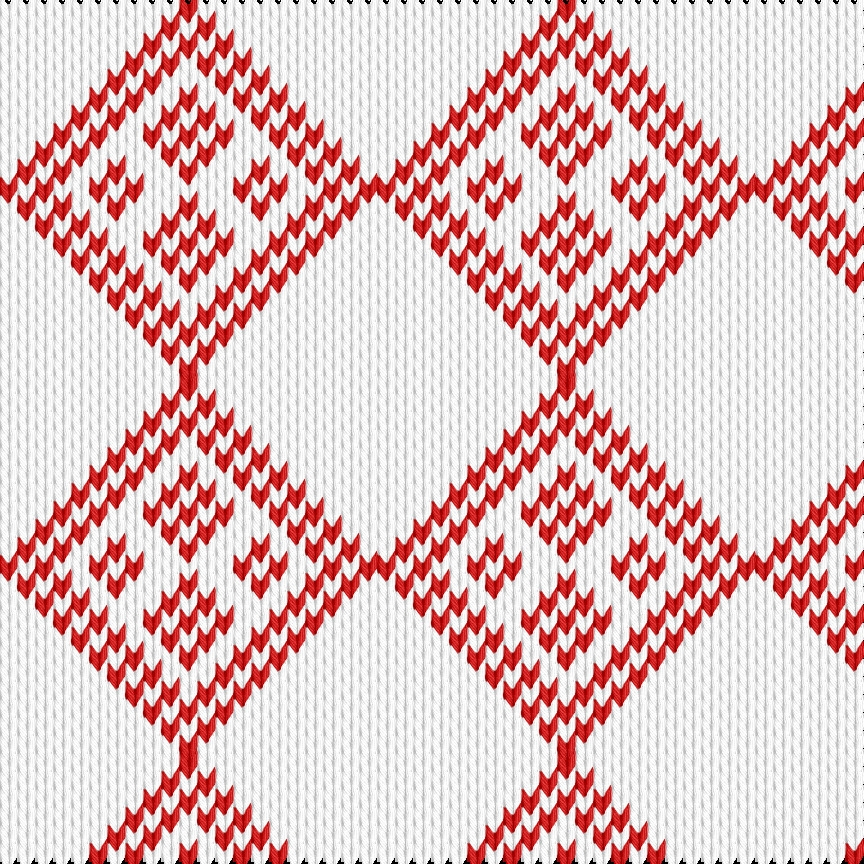 Knitting motif chart, Rombus pattern with a touch of Christmas