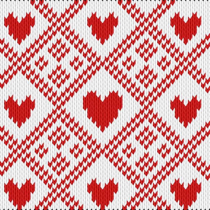 Knitting motif chart, Christmas rombuses with hearts