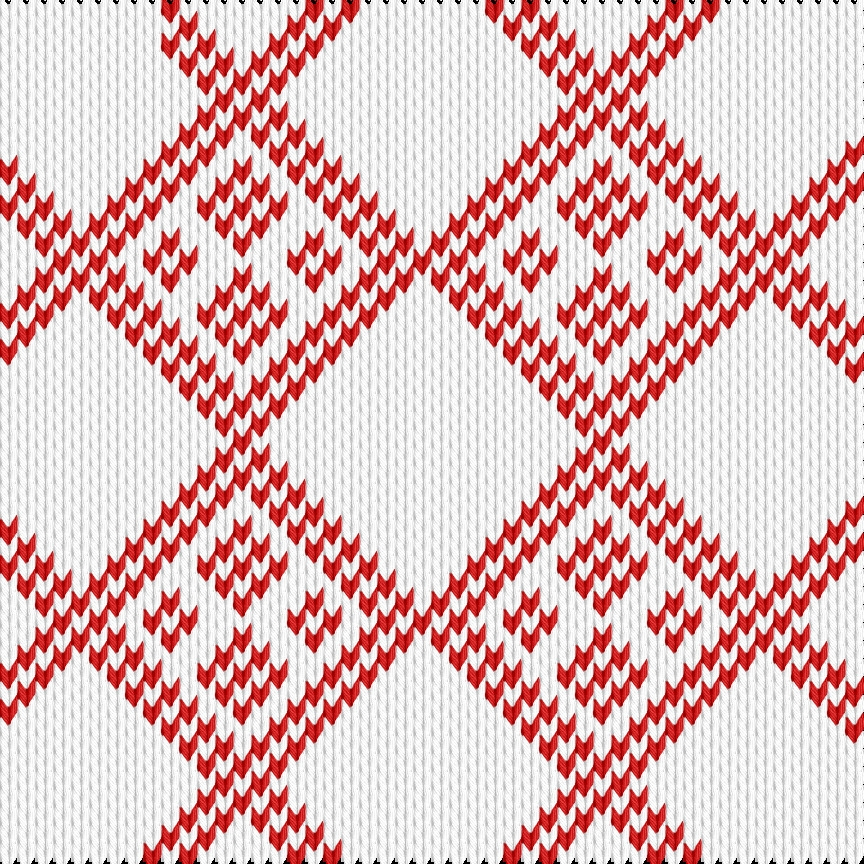 Knitting motif chart, Christmas rombus - simpler