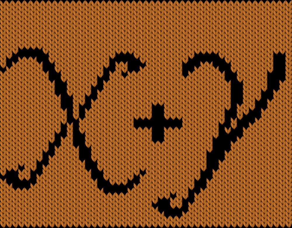 Knitting motif chart, x + y