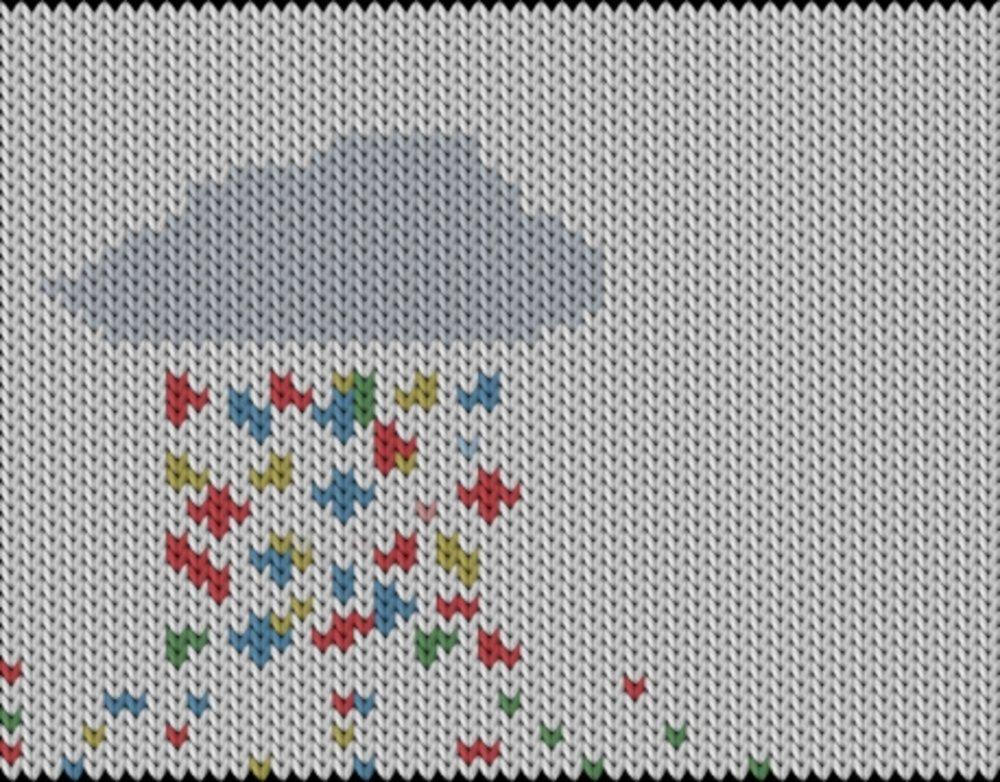 Knitting motif chart, Rainbow-rain
