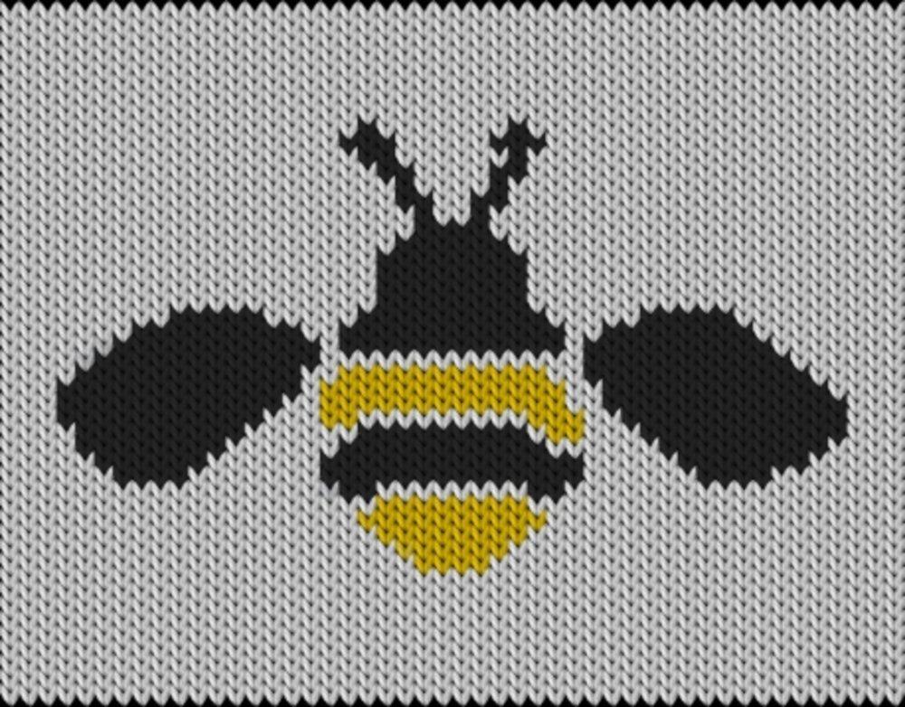 Knitting motif chart, Bee