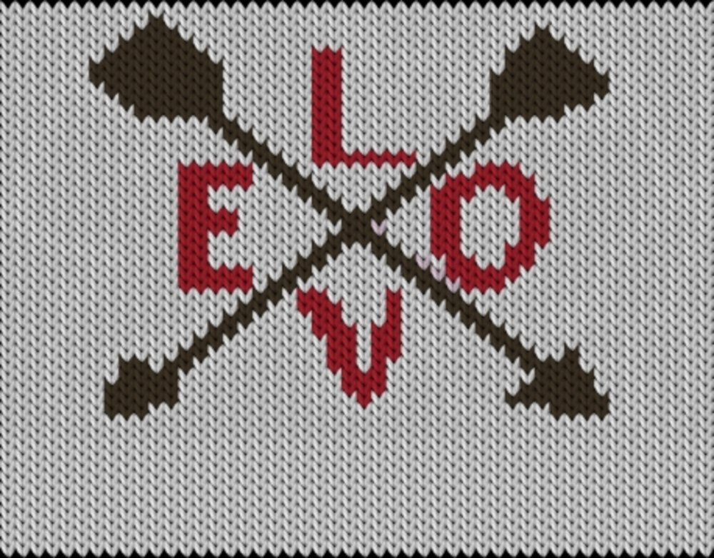 Knitting motif chart, Arrows-Love