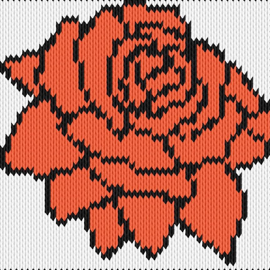 Knitting motif chart, rose
