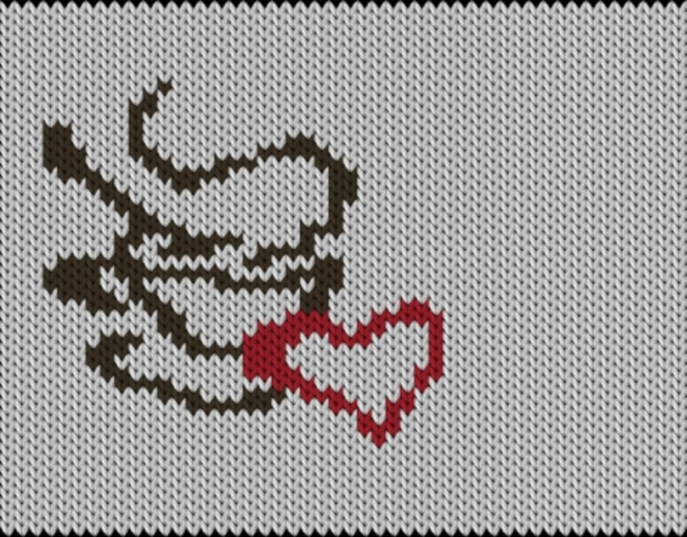 Knitting motif chart, Coffee-love