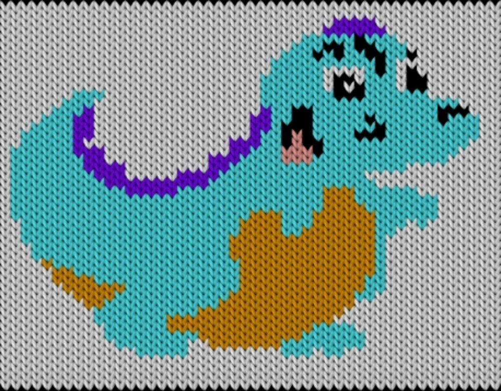 Knitting motif chart, Dinosaur