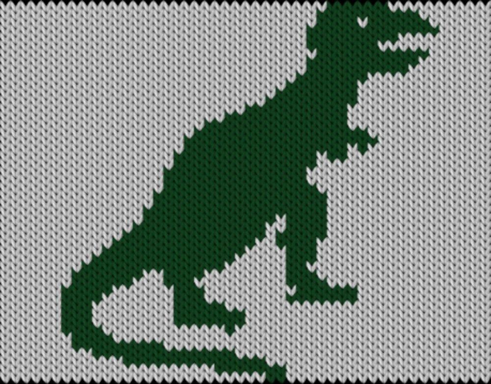 Knitting motif chart, Dino